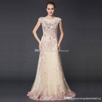 Wholesale Keyhole Bridal Jacket - real photos Arab Dubai formal evening dresses 2018 heavily embroidery crystals beaded scoop neckline sweep train bridal evening gowns