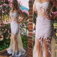 Wholesale Tulle Dresses For Cheap - Cheap White Lace Mermaid Prom Dresses Long Appliques Tulle See Through Formal Evening Party Gowns For Women