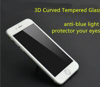 karbon fiber iphone toptan satış-3D Kavisli karbon fiber Temperli Cam iphone 7 6 s artı Ekran Koruyucu Tam Kapsama Cam anti mavi ışık ekran koruyucu GJY005