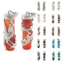 Wholesale Dragon Phoenix Jewelry - Wholesale Natural Gem Stone Dragon Phoenix Cylindrical Set Reiki Pendulum Pendant Crystal Amulet Charms Fashion Jewelry Lovers Gift XS-A063