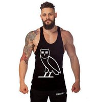 Wholesale Owls Clothes - Brand Design Men Gym Tank Top Owl Print Sleeveless Shirt bodybuilding clothing stringer vests sports undershirt vest muscle tops