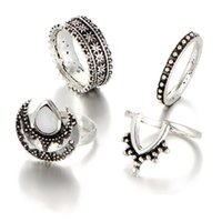 2017 New Arrvial Vintage Retro 4pcs / Set Ancient Silver Color Knuckle Rings Delicados Prata Boho Fashion Moon Midi Finger Knuckle Rings D24S