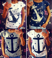 Wholesale T Shirt Women Sailor - Fashion Hot T Shirts for women ship's anchor print t-shirt navy sailor short sleeve tops plus size femininas tees tshirt NV07 RF