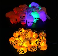 Wholesale Halloween Plastic Skeleton - LED decorative lamp string Halloween scene props bar Decoration Halloween Jack-O-Lantern lamp luminous skeleton 16 heads about 2.3M