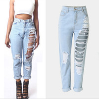 Wholesale Vaqueros Woman Sexy - Destroyed ripped for women plus size baggy boyfriend with hole Distressed high waist jeans femme vaqueros mujer Sexy jeans