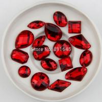 Wholesale Diy Sew Stones - Free Shipping, mix size 100pcs Lot, mix shape Red Color sew on stones flat back Acrylic sew on rhinestones gems DIY