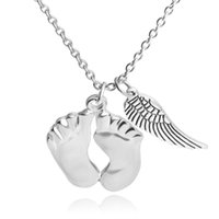Wholesale Wholesale Angle Wings - cute little feet angle wing double Pendants necklaces 925 sterling silver Love baby Necklace best chrismas gift for children