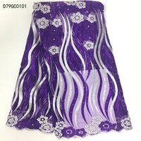 Wholesale African Purple Swiss Lace - Wholesale New soluble water lace Embroidery african cord lace purple swiss voile switzerland french nigerian lace fabrics high quality D79GC
