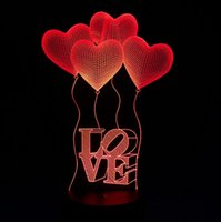 3D Ilusão óptica Love Hearts Lâmpadas noturnas 10 LEDs coloridos Ultra-fino Acrílico Light Panel AA Battery ou DC 5V Factory Wholesale