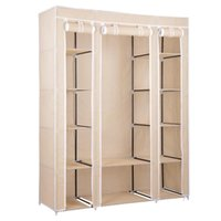 Wholesale Wardrobe Storage - Portable Closet Wardrobe Clothes Rack Storage Organizer With Shelf Beige New