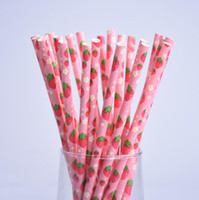 Wholesale Paper Strawberries - 200pcs lot Fruit Pineapple Strawberry Watermelon Design Paper Straws for Birthday Wedding Decorative Party Supplies Creative Drinking Straws