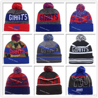 Wholesale Solid Cotton Beanie - 2017 New York Football Beanies Winter High Quality Beanie For Sale Giants Beanie American Football Cool Skull Caps Skullies Knit Cotton Hats