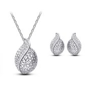 Discount love studs - free shipping New 1 Set Hollow-carved Love Leaf Pendant Necklace and Stud Jewelry Set ( 2 colors )