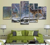 Wholesale set two oil paintings resale online - 5 Set No Framed HD Printed Jungle two antelope Painting Canvas Print room decor print poster picture canvas bird painting