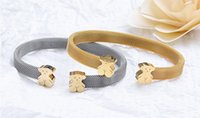 Wholesale Cute Cuffs - Fashion Stainless Steel Lovely Cute Bear Womens Cuff Bangle Bracelet Silver Gold
