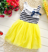 Wholesale Layered Tulle Kids - New Summer 2016 Girls Sleeveless Tulle Bow Striped Tutu Dresses Kids Clothing Tank Lace Collar Layered Gauze Lovely Dress Child Dressy H0647