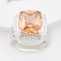 Wholesale Square Charms Ring - Free shipping - Vintage Silver 925 Stamp Beauty square Morganite Charm Crystal Ring Valentne's Day Gift CR0845