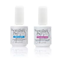 Wholesale Top Coats Nails - Base Top Coat Nail Art Soak Off UV LED Gel Nail Polish Gelish 2Pcs Lot Foundation Top-it-Off