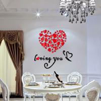 ingrosso autoadesivo della parete di amore 3d specchio-Decorazioni per feste Adesivi murali acrilico Specchio acrilico Adesivo fai da te Decorazioni per la casa Amore Adesivo 3D Soggiorno Design moderno