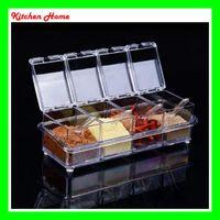 Wholesale Spice Box Set - 4Pcs Set Transparent Crystal Kitchen Sauce Box Salt Jar Spice Case Seasoning Jar Peper Storage Sauce Container with Lid and cover