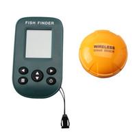 localizador de peixes sonar sem fio venda por atacado-Sem fio Dot Matrix Sonar Fish Finder com À Prova D 'Água Luz Do Sol Visível Display LCD Max 80 m profundidade Peixe Tamanho Temp Água Show