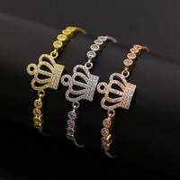 Wholesale Crown Charm Price - 5pcs lot New tennis crown bracelet wholesale price crown charm AAA CZ Inlaid crown bracelet pulseira