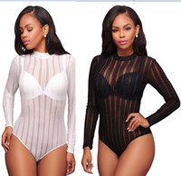 Wholesale Womens Playsuits Short - Women Sexy Bodysuits Black White Long Sleeve Short Rompers Summer Womens Mesh 2017 Sexy Skinny street Wear Strip playsuits bodycon Rompers