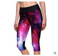 Wholesale White Cotton Lycra Leggings - 2016 New Summer Womens Tights Leggings Fashion 3D Cotton Yoga Colorful Leggings Shorts For Ladies Sports Fitness Plus Size Leggings