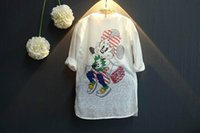 Wholesale Mouse Children Sweater - 2016 Autumn New Girl Cardigan mickey mouse Cartoon Thin Long Style Knitting Sweaters Coat Children Clothes 2-7T SH910