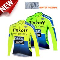 Wholesale jersey cycling saxo green for sale - Saxo tinkoff bank winter thermal fleece men s winter cycling jersey winter ciclismo invierno hombre cycling bike hot sale
