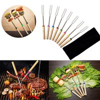 Wholesale Grill Pits - 8pcs Set Roasting BBQ Sticks with Wooden Handle Telescoping Smores Skewers & Hot Dog Forks Fire Pit Camping Cookware Campfire Cooking