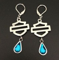 Wholesale Cool L stainless steel biker jewelry ladies biker earrings green blue stone dangle