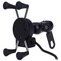 steckdose ladegerät großhandel-Auto Motorrad Ständer X-Grip Halter 12V USB Ladegerät Steckdose für iPhone 6/6 Plus GPS Samsung HTC Sony Smart Phone Holder