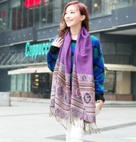Wholesale Nepal Scarfs - Factory selling spring autumn designer Nepal cotton linen purple jacquard women shawl and pashimina wraps scarf with tassels