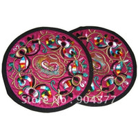 Wholesale Satin Placemats - Wholesale- Vintage Round Embroidery Decorative Plates table mats for dining table Chinese Ethnic style Satin Placemats Table Protection pad