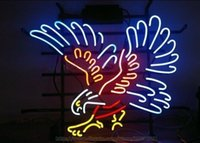 "Wholesale neon sign eagles - Silver Hawk Eagle Handcrafted Neon Sign Real Glass Tuble Light Club Bar PUB Display Sign Advertisement Logo Sign 24""x20"""