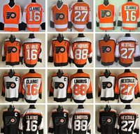Atacado - Philadelphia Flyers Throwback Hockey Jerseys Ice 16 Bobby Clarke 88 Eric Lindros 27 Ron Hextall Alternate Black Orange White Tea