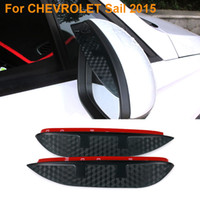 2016 Car Styling Carbon Rearview Mirror Rain Blades Car Back Mirror Protetor de capa de sobrancelha para CHEVROLET Sail 2015