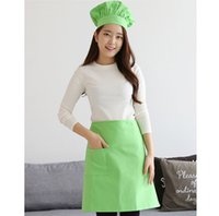 Wholesale Apron Chef Hats - 2 sets of Korean adult paternity chefs apron kitchen hat men and women working cooking cotton chef hat