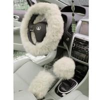 ingrosso ruota della pelliccia-Fascino caldo lungo in pelliccia di peluche Volante auto copertura in lana auto freno a mano accessorio vendita calda