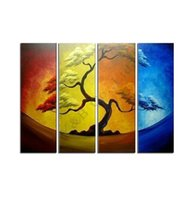 Wholesale Pine Panel - Abstract Four-Color Yellow Pine Tree Oil Painting Hand Painted 4 Panel Arts Set Home Decor Modern Wall Picture For Living Room