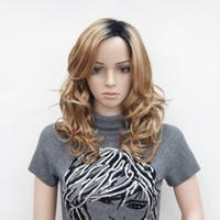 morango claro venda por atacado-Frete grátis encantadora bela nova luz morango loiro com raiz ombre castanho escuro de alta qualidade curly longo peruca