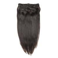 "Wholesale Double Wefted Hair Extensions - 18"" 20"" 22"" 24"" Natural Black #1B Double Wefted Full Head Brazilian Clip in Hair Extensions 200g set"