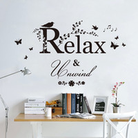 Wholesale Leaves Branches Wall Art - Black Butterfly Tree Branches with leaves Birds Wall Stickers Relax Unwind Wall Quote Inspiration Art Mural Poster Music Note Wall Applique