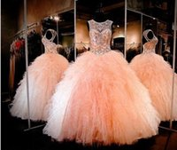 Wholesale Quinceanera Women - 2016 Sparkly Ball Gown Beaded Crystal Prom Dresses Sweetheart Keyhole Lace-up Back Ruched Tulle Long Formal Quinceanera Dresses for Women