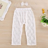 Wholesale Baby Lace Flower Leggings - 2016 kids tights baby lace leggings set girls bow headbands + flower Tights pants newborn photography props infant summer outfits wholesale