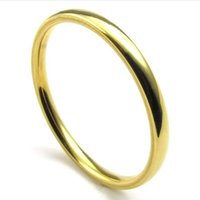 Wholesale Women Stylish Rings - 072993-Wholesale 2mm Men's woman Stainless Steel Golden Ring stylish simplicity personalized titanium steel new style size:6-13
