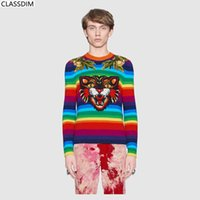 Wholesale man decals - Men's Cotton Striped Decals Sweater Men's Round Neck Cat, Garland Embroidery Sweater Rainbow-Colored Sweater Teen Size S-L