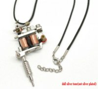 "Wholesale Silver Tattoo Machine Pendant - 1PC Silver Tone Mini Tattoo Machine Necklace 45cm(17-6 8"") Mr.Jewelry Cheap jewelry printing hines High Quality jewelry window"