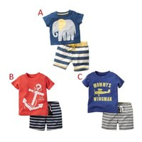 Wholesale Planes Shirts - PrettyBaby New arrival short sleeve Casual Cotton boys plane anchor elephant t shirt casual striped shorts outfits for baby boys free dhl